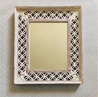 CasaGold Wooden Carved Mirror in White Distressed Finish, Size: 15 x 13 x 2 Inches (White)