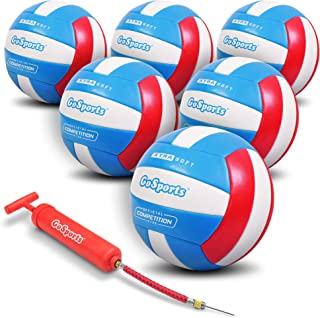 GoSports Soft Touch Recreational Volleyball | Regulation Size for Indoor or Outdoor Play | Includes Ball Pump - Choose Between Single or 6 Pack
