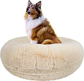 Bessie and Barnie Signature Blondie Luxury Shag Extra Plush Faux Fur Bagel Pet/Dog Bed (Multiple Sizes)