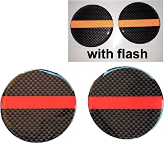 Domed Red Thin Line Reflective Decal Round Circle Kevlar 2x 3D Gloss Resin US Cross Firefighter Fire Rescue Fighter Flag USA Support Hero Shield Window Decals Sticker Motorcycle Door Motorbike Badge Car Truck Tailgate Helmet Laptop Notebook Mac Safety 50 mm