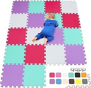 qqpp Alfombra Puzzle para Niños Bebe Infantil - Suelo de Goma EVA Suave. 18 Piezas (30*30*1cm), Blanco,Verde,Rojo,Morado. QQC-AHIKb18N