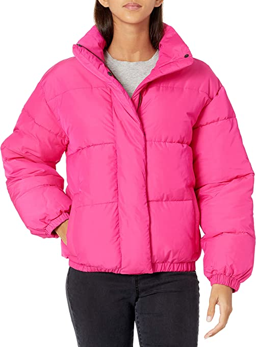 Daily Ritual Women's Relaxed-Fit Mock-Neck Short Puffer Jacket