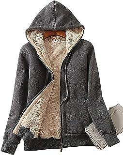 Lentta Women's Sherpa Fleece Lined Hoodie Jacket Thicken Outerwear Winter Coat