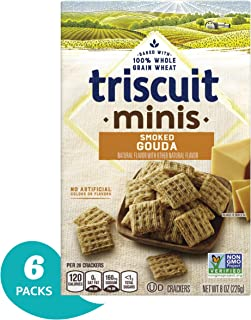 Triscuit Minis Smoked Gouda Crackers, Non-GMO, 8 Ounce (Pack of 6)
