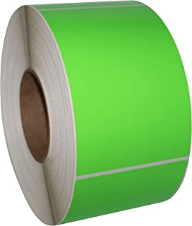 """Compulabel Direct Thermal Labels, 4""""x6"""", 1000 Labels Per Roll, Pack of 4, PMS802 Green, Fluorescent, 3"""" Core (520306)"""