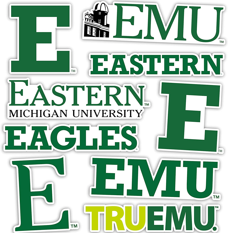 Eastern Michigan University EMU Eagles Sticker Vinyl Decal Laptop Water Bottle Car Scrapbook (Type 2 Sheet)