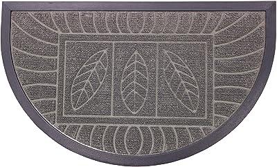 Tapis Deco Door Carpet 45X75 Demi-Lune FEUILLES GRIS, Rubber, Grey, 45 x 75 cm