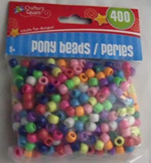 Crafter's Square - Pony Beads - 400 pc Multi-Colors - Brand New - Factory Sealed and Ships Within 24 Hours
