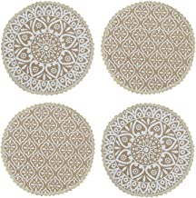 Saral Home Decorative Jute Printed Table Mat (Pack of 4 pc, 38x38 cm), White
