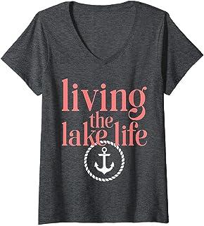 Womens Living the Lake Mode Life Wake Boat Bum Houseboat Camping V-Neck T-Shirt
