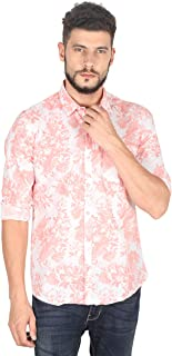 Twills Slimfit Printed Casual Cotton Shirt for Men Pink-White (Size - S)