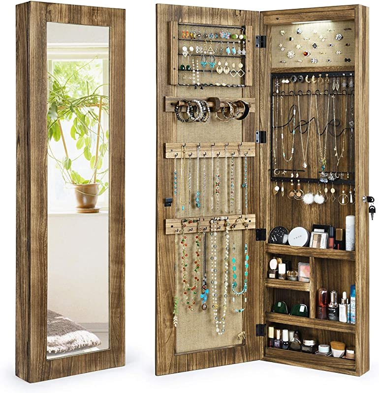 SRIWATANA Jewelry Armoire Cabinet Solid Wood Jewelry Organizer With Full Length Mirror Wall Door Mounted Carbonized Black