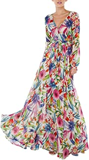 HaoDuoYi Women's Tropical Floral Print Pleated Tunic V Neck Wedding Maxi Dress