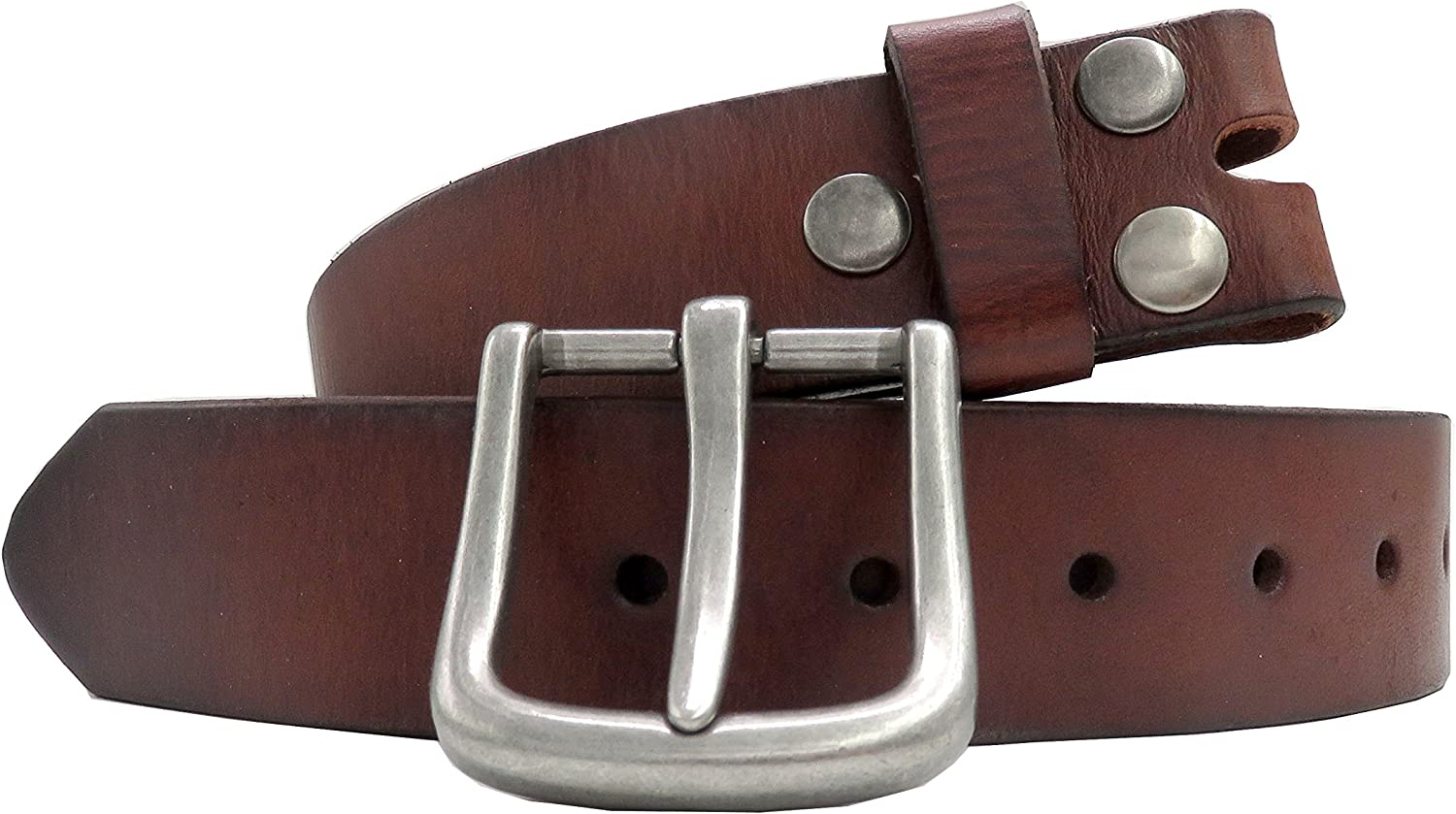 NEW POLISHED BUCKLE GENUINE BROWN MENS LEATHER BELT COWHIDE JEANS COMBATS SUIT