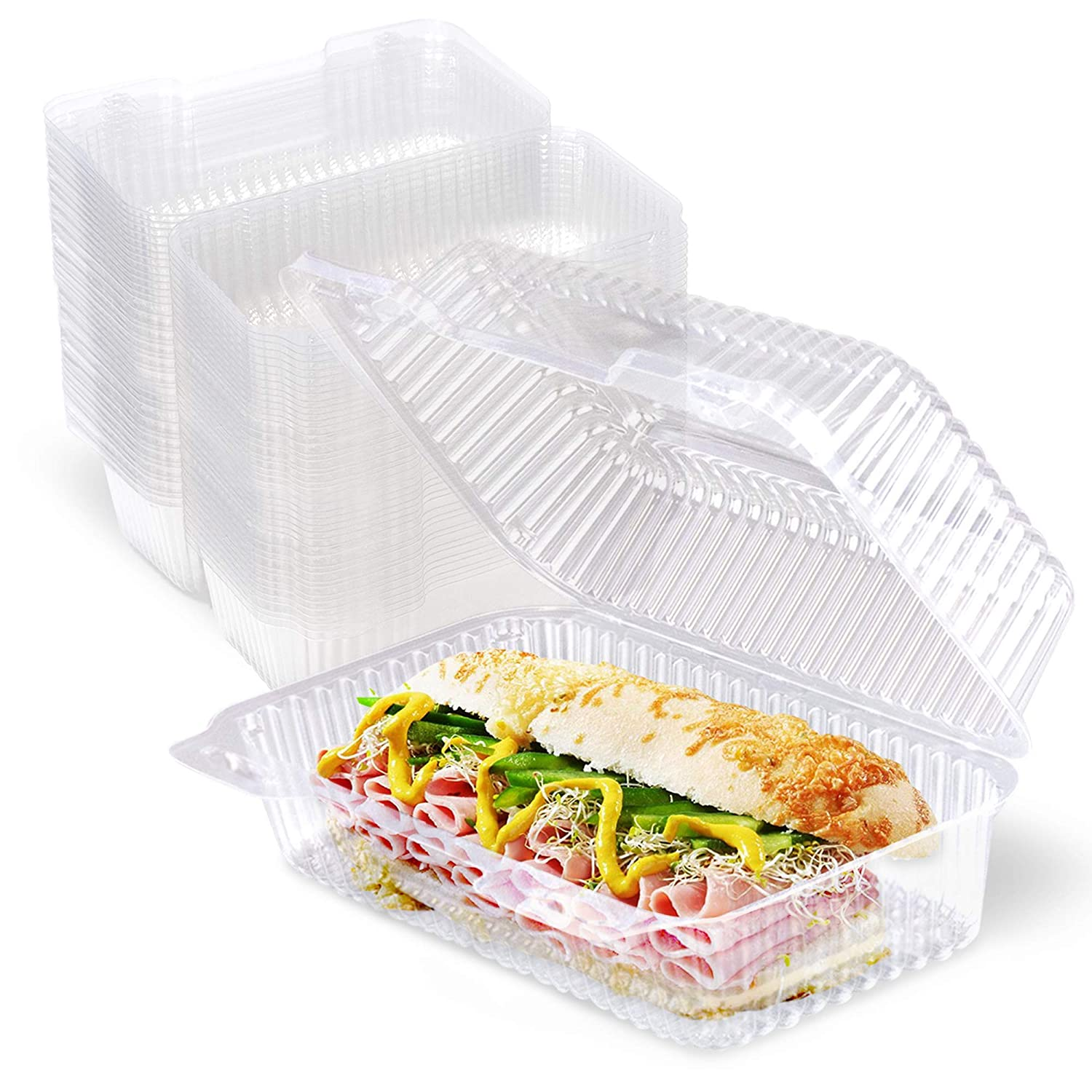 """250 Popular Pack Clear Hinged Plastic - 9x5x3"""" Containers Single Ranking TOP10"""