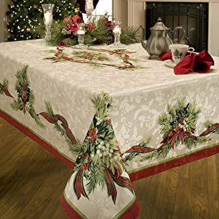 Benson Mills Christmas Ribbons Engineered Printed Fabric Tablecloth, 60-Inch-by-84 Inch