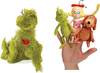 Manhattan Toy Dr. Seuss Grinch Bundled with Light Up Heart Plush with Dr. Seuss The Grinch Finger Puppet Set