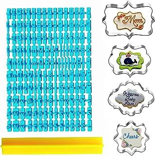 Lot de 160 tampons à biscuits de l'alphabet et 4 emporte-pièces cadre de plaque , lettres minuscules et majuscules, emport...