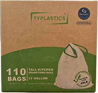 TYPLASTICS Drawstring Trash Bags – Antimicrobial Protection, Unscented, White (13Gallon, 110Count)