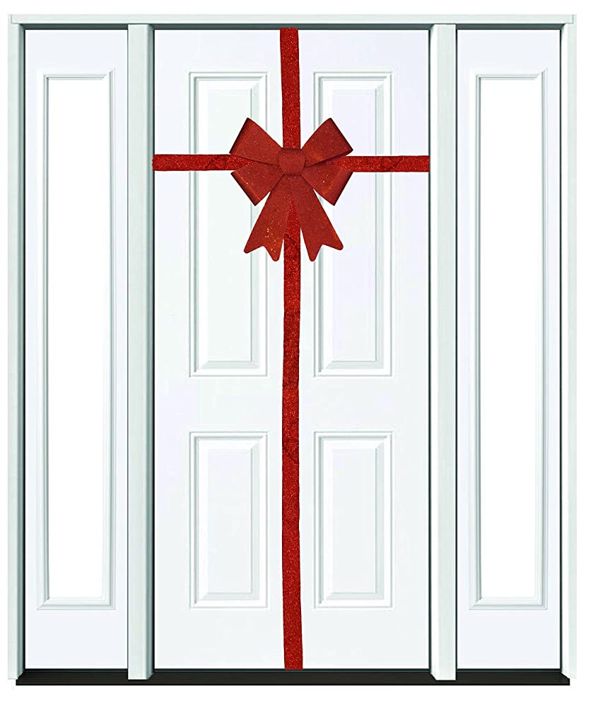 Decorative Seasonal Holiday Red Glittery Bow with Matching Red Ribbon (8.7 inches X 14.6 inches) for Christmas, Thanksgiving, New Years, Birthday, Any Celebration, Party or Event
