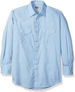 ELY CATTLEMAN Men's Long Sleeve Solid Western Shirt Light Blue Large