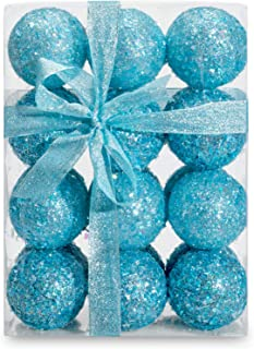 AMS 70mm/24ct Handmade Iridescent Xmas Balls Shatterproof Christmas Ornaments Glitter Special Colour Decoration (70mm, Blue Iridescence)