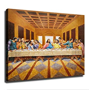 African American Black The Last Supper Jesus Christ Religious Picture Art Print Poster Picture Art Print Canvas Wall Art Home Living Room Bedroom Decor Mural (24×32inch-No Framed)