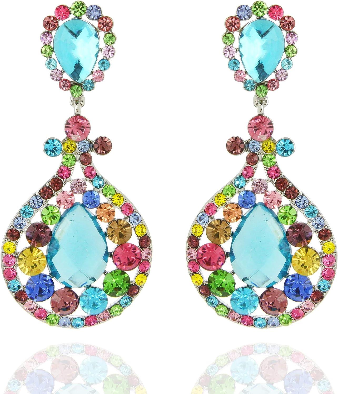 SP SOPHIA COLLECTION Women's Sparkling Austrian Crystal Victorian Teardrop Evening Clip On Earrings