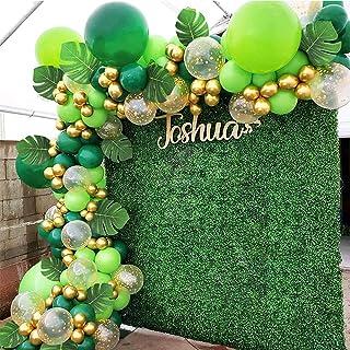 Jungle Décorations Anniversaire Kit 112 Pcs Jungle Party Vert Ballon Garland Arc Feuilles de Palmier Confettis Ballon pour...