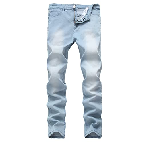 500278fa06e2 Men's Light Blue Skinny Jeans Stretch Washed Slim Fit Straight Pencil Pants,  ...
