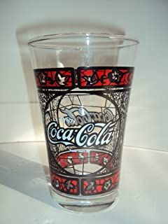 Vintage Enjoy Coca Cola Drinking Tumbler Red & Black Stained Glass 8