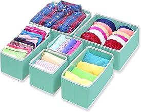 Simple Houseware Closet Drawer Organizer Bin, Turquoise, 6 Set
