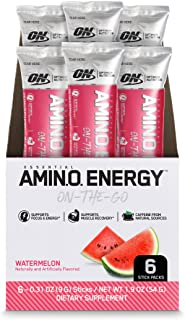 Optimum Nutrition Amino Energy - Pre Workout with Green Tea, BCAA, Amino Acids, Keto Friendly, Green Coffee Extract, Energy Powder - Watermelon, 6 Count