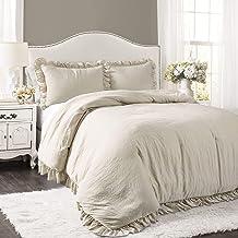 Lush Decor Reyna Comforter Wheat Ruffled 3 Piece Set with Pillow Sham King Size Bedding
