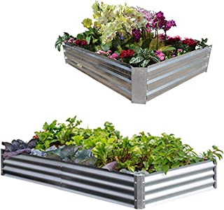 Metal Frame Raised Garden Bed Kit(Multi Sizes) - Elevated Planter Box for Growing Herbs, Vegetables, Greens, Strawberries, Flowers; Above Ground Galvanized Flower Bed kit 4 x 4 ft or 6 x 2 ft