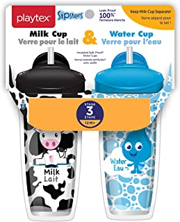 Playtex Sipsters Stage 3 Milk and Water Spill-Proof, Leak-Proof, Break-Proof Insulated Toddler Straw Sippy Cup Set, 9 Ounc...