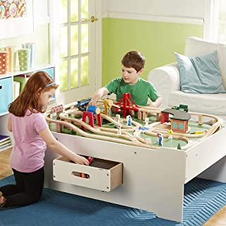 Melissa & Doug Deluxe Wooden Multi-Activity Play Table - For Trains, Puzzles, Games, More