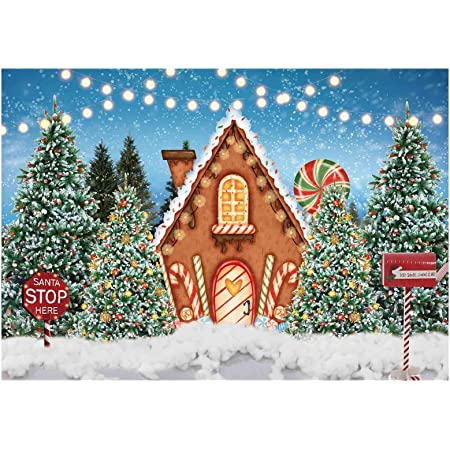 Leowefowa Cartoon Santa Claus Gingerbread Men Reindeer Xmas Gifts Illustration Backdrop for Photography 9x6ft Christmas Background Xmas Party Banner Child Baby Photo Shoot Studio Props Wallpaper