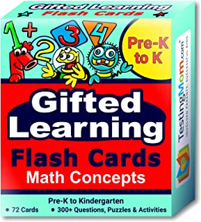 TestingMom.com Gifted Learning Flash Cards – Math Concepts for Pre-K – Kindergarten – Educational Practice for CogAT Test, OLSAT Test, ITBS, NYC Gifted and Talented, WISC, WPPSI