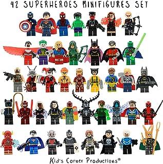 Kids Corner Productions - Super Heroes Lego Figures 42 Set Mini Figure Figure Marvel y DC Comics - Bolsa de fiesta con Batman, Spiderman, IronMan, Thor, DeadPool y muchos otros