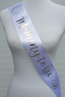 Mommy to Bee Baby Shower Sash for Mommy to Be White & Gold with Rhinestone Pin