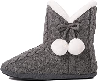 Slippers Booties for Women Ladies Girls Slipper Boot Bootie Faux Fur Lined with Pom Poms