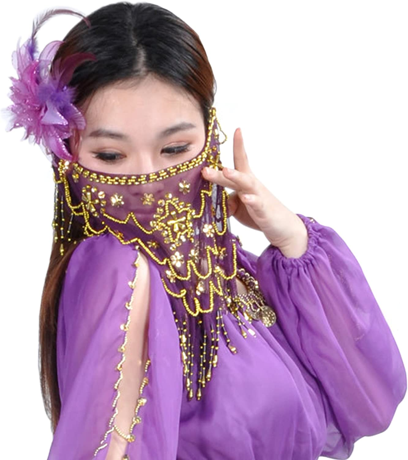 Astage Lady Masquerade Halloween Party Belly Dance Tribal Face Veil Mask Scarf