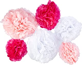 24pcs Craft Paper Tissue Pom Poms, Doubletwo Ceiling Decor Wall Decor; 12inches 10inches 8inches Hanging Paper Pom-poms Fl...