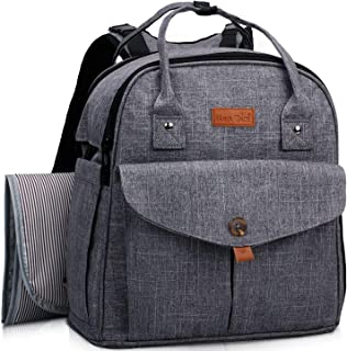 HapTim Baby Diaper Bag Backpack,Compact Baby Nappy Changing Bag(Grey 5319)