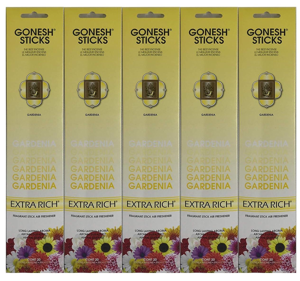 博覧会ミリメーターケージGonesh お香スティック エクストラリッチコレクション - Gardenia 5パック (合計100本)