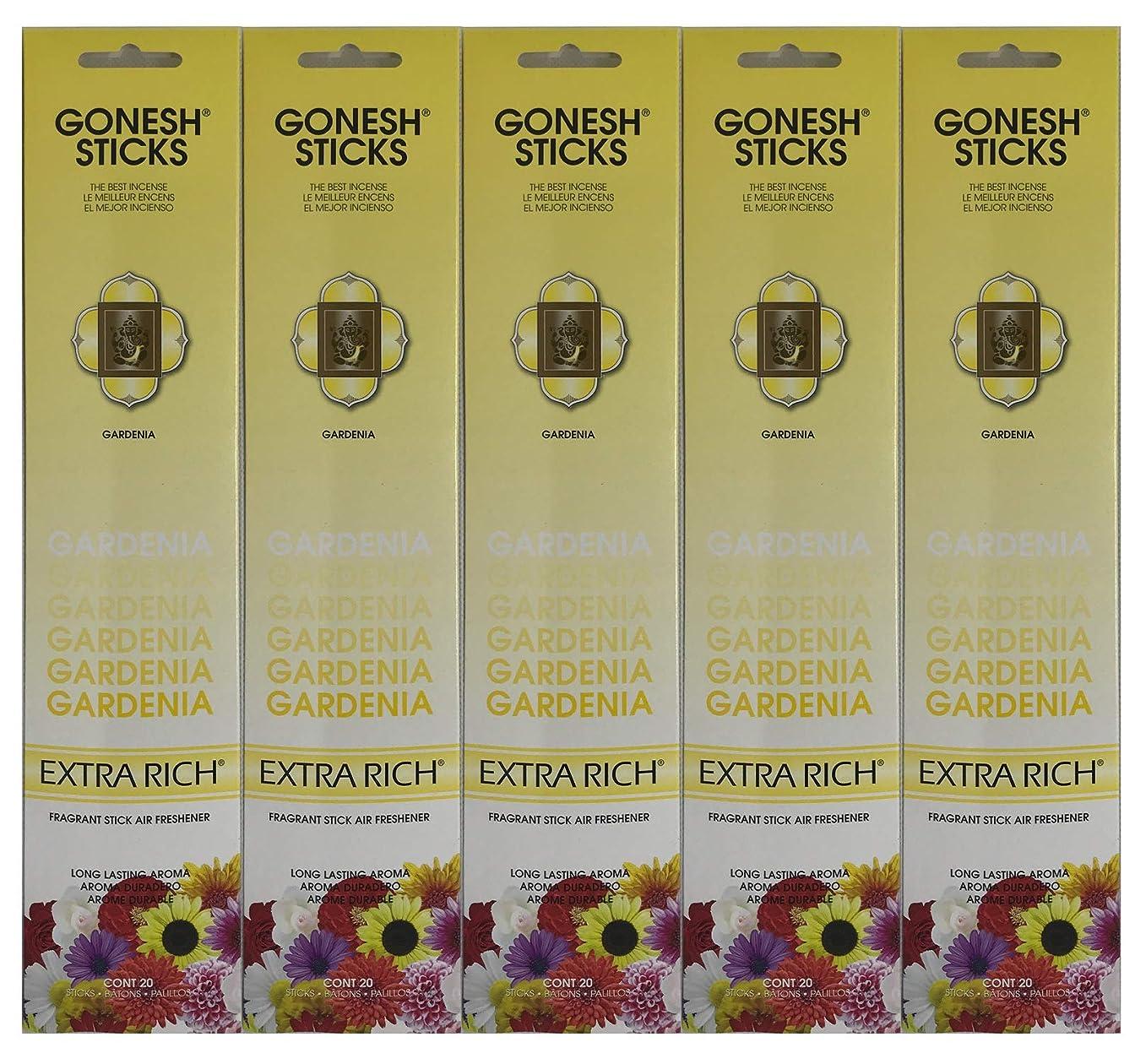 フラフープ緯度仕立て屋Gonesh お香スティック エクストラリッチコレクション - Gardenia 5パック (合計100本)