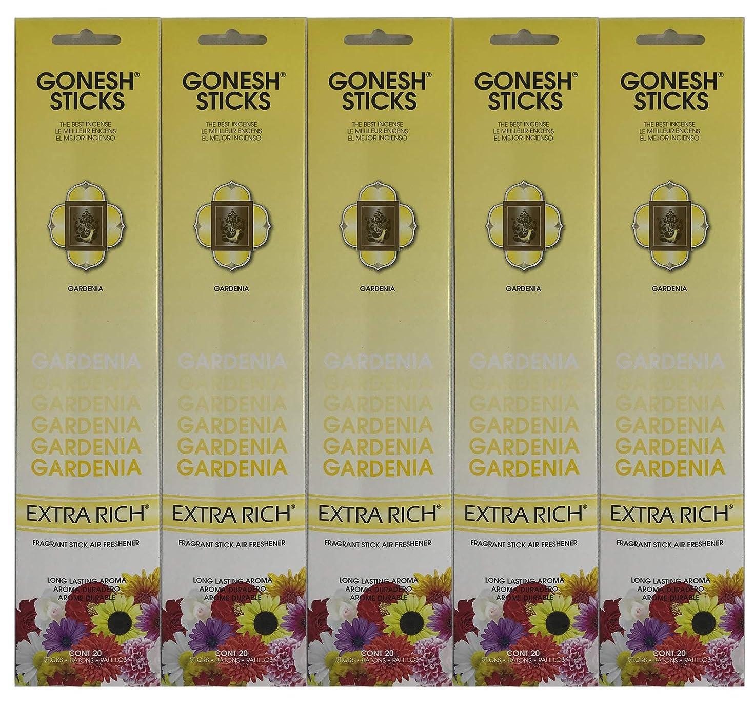 広範囲アラートテクスチャーGonesh お香スティック エクストラリッチコレクション - Gardenia 5パック (合計100本)