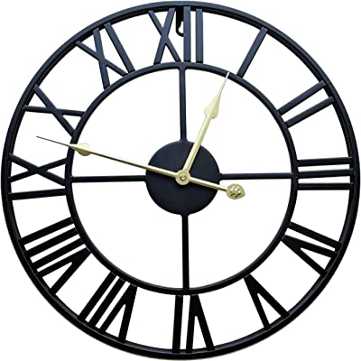 """MAIJIA Oversized Clock, 24"""" Round Metal Roman Numeral, Silent Batter Operated, Clock-Indoor Decorative for Home, Loft, Living Room, Kitchen (Black)"""