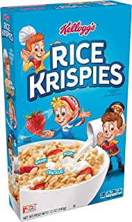 Rice Krispies Kellogg's Fat-Free Breakfast Cereal, Toasted Rice Cereal, 12 Ounce(Pack of 10)